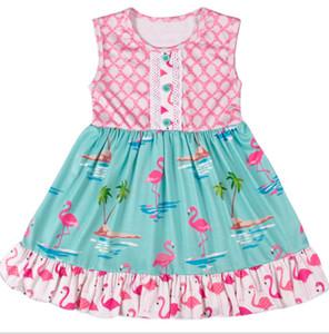 Девушки принцесса платья Летние фламинго кокосовых пальм с набивным рисунком Дети Сарафан дети кружева жилет платье детский мультфильм Бальные платья Y2296