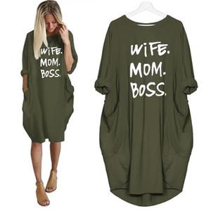 Moglie mamma Boss vestito sexy sottile vestito casuale da estate donne di modo della maglia Abiti a maniche lunghe Sundress 2019