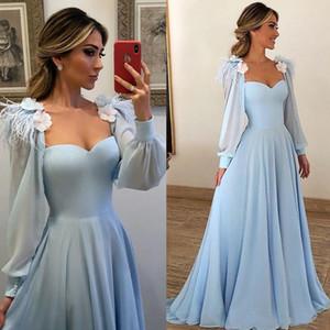 Vestidos de fiesta Mujeres cielo azul Poeta manga larga formal vestidos de noche un partido de la gasa larga Square Line Escote Flor Prom Vestidos