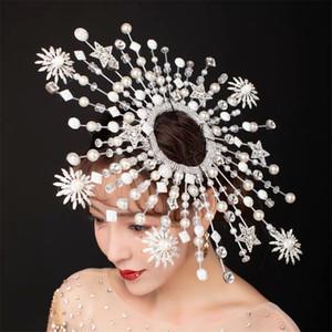 Custom Made Özgürlük Heykeli headpieces gösterisi için kırmızı halı Modelleri Performansları için Saç Makyaj Başlığı Taç Tiaras Fascinator