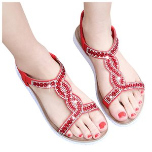 zapatos de mujer Women Ladies Crystal Casual Flat Elastic Band Bohemian Beach Shoes Sandals sandalia feminina calzado