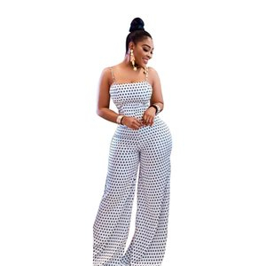 Dot Print Back Lace Up Bandage Jumpsuit Mujeres Casual Spaghetti Strap Backless Women Jumpsuit Elegantes pantalones de pierna ancha Overoles