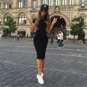 Women's short-sleeved dress slim bodycon dress corset round neck casual pencil skirt casual party prom dress