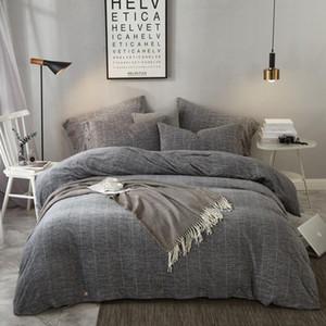 Algodão velo sono Calor Cama definir o tamanho da Rainha Rei JPCS azuis Marinho / Cinza Botão Duvet Cover Plano / cabido conjunto de folha de cama