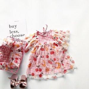 meninas vestem vestido cor-teste padrão da cereja bebê xadrez incendiar design manga menina doce vestido T200417