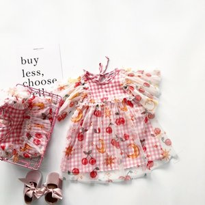 kızlar pembe kareli kiraz model bebek elbise kol tasarım tatlı kız elbise T200417 flare elbise