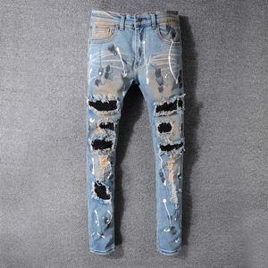 2020 Fashion New High Street Tendance Ripped moto Jeans bleu clair Distressed Pantalon Slim Punk Amiri Youth Taille 28-40