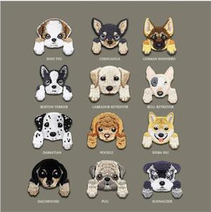 Hot cabeça cachorro bonito roupas capítulo máquina de bordar autocolante autocolantes decoração buraco pano pasta saco patch decorativos