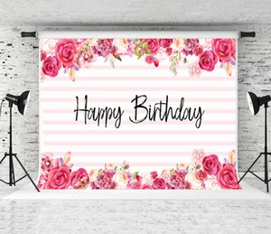 Happy Birthday Backdrop Pink Strips Florals Photography Background Children Baby Shower or Adults Birthday Party Photo Shoot Backdrops Prop