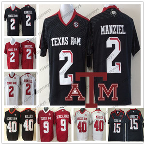 NCAA Texas am Eggies # 2 Johnny Manziel 40 von Miller 15 Myles Garrett 9 Ricky Seals-Jones Black Red White Hombres Jersey Niño Jersey