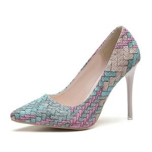 뜨거운 판매 복장 lism 2019 봄 새로운 여자의 신발 지적 세련 된 굽 높은 신발 얕은 입 색상 유럽 일치하는 역