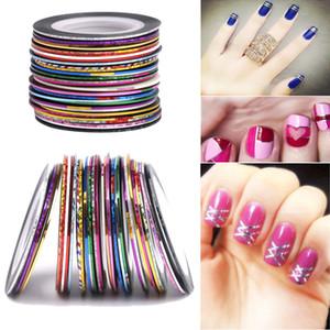 100 Rollos Nail Striping Tape Decal Lines Juego de láminas de color mezclado Pegatinas de uñas Nail Art Tips Decoraciones DIY Herramientas
