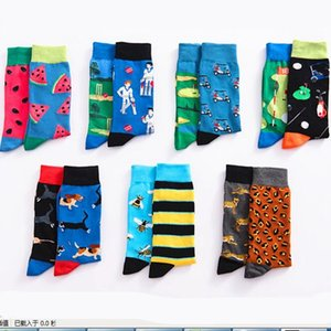 man knee-high cotton sock fruit watermelon Go kart animal bee golf mouse dog colorful happy spring winter funny warm sock unisex