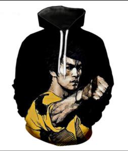Nueva Moda 3D HD Imprimir Hombres Mujeres arte marcial Bruce Lee Sudaderas Con Capucha Street Wear Casual Hip Hop Bolsillos Sudadera Ropa R0174