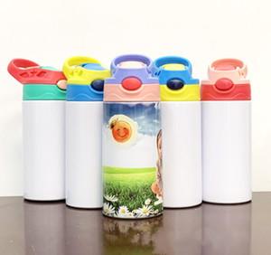 Nova copo vazio sublimação Sippy 350ml de água miúdo transferência de calor garrafa desenhos animados revestidos de parede dupla em aço inoxidável crianças copo de água palha