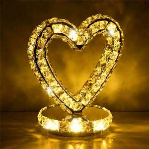 Romantico Cuore Design Lampada da tavolo in cristallo per camera da letto Soggiorno Sala da pranzo Roon Stand in legno Luna CC Led Apparecchi di illuminazione - I150
