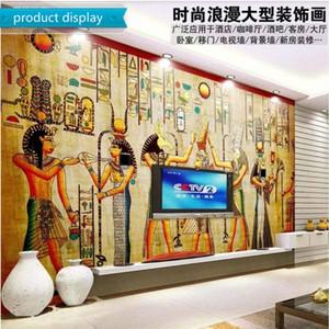 Carta da parati Antico Egitto celebrazione classico scena murale Wall Paper 3D Retro Ristorante a tema Aisle Decor Industrial Background