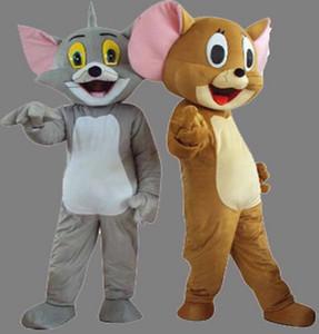 Freies Verschiffen Tom Cat und Jerry Maus Maskottchen Kostüm Outfit Chirstmas Erwachsene Größe Cartoon Kostüm