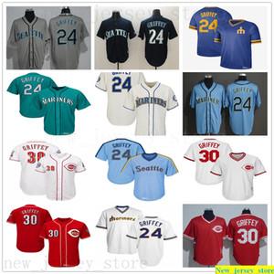 2019 Homme Femme Jeunesse Vintage 24 Ken Griffey Jr Jersey Baseball Cousu vert 2016 Hall Of Fame Reds Seattle 30 Griffey Jr. Maillots