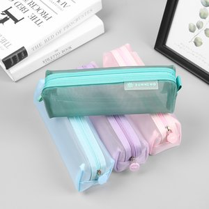 1PC Cute Solid Color Transparent Mesh Pencil Case School Student Supplies Pen Box Pen Bag Stationery Storage Bag
