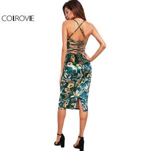 Colrovie Lace Up Back Floral Velvet Dress Botanique Femmes Sexy Cami Midi D'été Robes Vert Élégant Bodycon Robe De Fête Y19051001