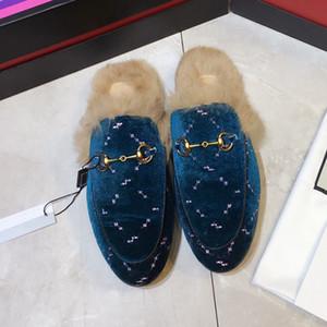 Männer Prince Pelz Muller Pantoffel Fashion Leder Loafer Schuh aus Wildleder Samt Winter-Slipper Loafers Muller Flachpelzstiefel mit Box