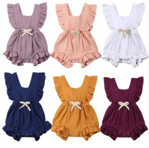 2019 Multitrust Marca Newborn neonate Ruffle solido di colore della tuta della tuta Outfits Estate Abbigliamento casual prendisole
