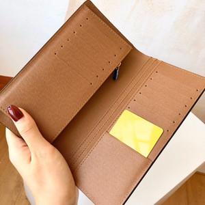 Para mujer para hombre titular de la tarjeta monedero Diseñador carpetas largas forro de cuero auténtico lienzo letra de control de color marrón monedero de la cartera del talonario de cheques Loui