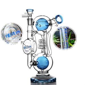 """10"""" verre recycleur tuyau de brûleur à mazout bong dab appareil de forage banger de quartz d'eau des tuyaux plates-formes pétrolières de l'herbe de bangs eau barboteur fumer bol d'accessoires"""
