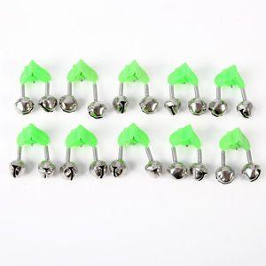 10 pezzi di canna da pesca Bells morso di pesca Allarmi morsetto di Rod Tip clip Bells Anello Verde ABS pesca accessorio caldo