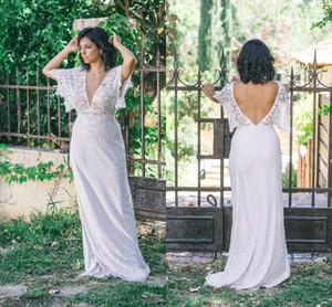 Robe de mariée élégante en dentelle col en V profond sirène bohème pas cher gaine ouverte dos plage gaine robe de mariée, plus la taille