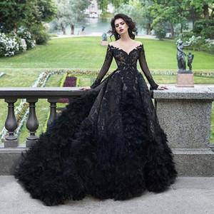 Omuz üst etek Tüy Gelinlik Uzun Kollu A Hattı Gotik cübbesi de mariée Kapalı Lüks Siyah Dantel Boncuklu Gelinlik Şeffaf
