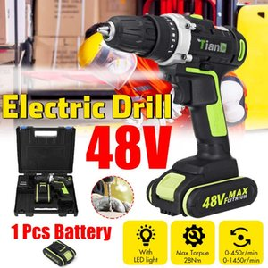 Eficiente 48V 2 Speed Broca Motorista elétrica chave de fenda Mini Wireless Power Com 1 / 2pcs DC Lithium-Ion Battery