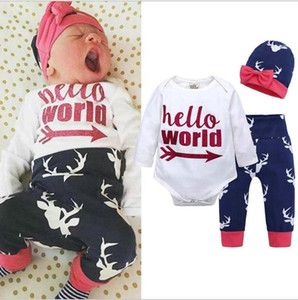 Baby Clothes set Newborn Boy Girl Printed Deer rompers + Pant + Hat 3pcs Outfits Set Christmas Baby Clothing Sets 0-24M