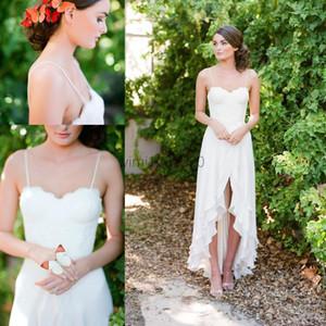 2020 Boho şifon Gelinlik Spagetti Yüksek Düşük Dantel Hi-Lo Garden Beach Ülke Bohemian Gelinlik de mariée vestidos de novia elbiseler