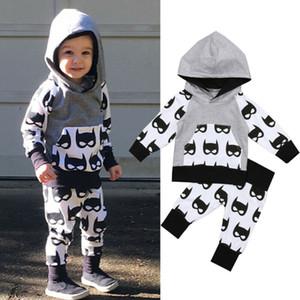 Дети Весна Детская одежда Бэтмен печати лоскутное толстовка + брюки 2 шт. наряды дети мальчики спортивный костюм наборы