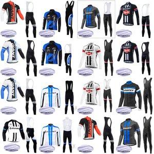 GIANT команда Велоспорт Зимняя Термальная Флис Джерси нагрудник брюки наборы 2020 Длинные рукава костюм плюс бархат держать теплый MTB велосипед спортивная одежда C624-22