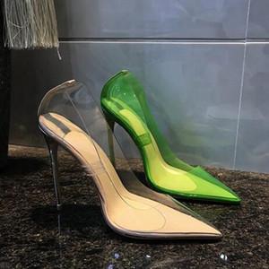 Livraison Gratuite Mode Femmes Escarpins En Cuir Verni Nude Clair Bout Pointu Talons Perles Chaussures Marque Avec Boîte Nouveau PVC Robe Chaussures 12 10 8 cm