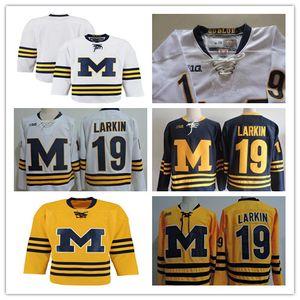 Benutzerdefinierte Michigan-Wolverines-Kollegen Hockey-Trikots Jeder Name Nummer gelb 19 Larkin 13 Zach Werenski 10 wird Lockwood 33 Joseph Cecconi