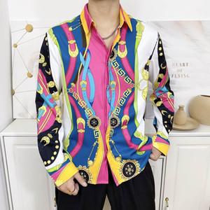 2020 Italian fashion men's casual short-sleeved shirt fashion mixed color embroidered shirt Medusa shirt M-2XL
