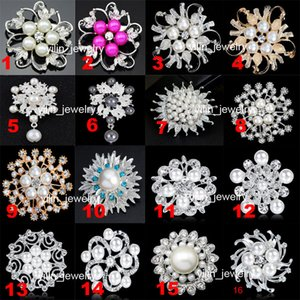 Wedding Brooches Faux Pearl Pins Crystal Rhinestone Flower Bouquet Brooch Pins Best Gift for Women 60 Styles Available DRBR2