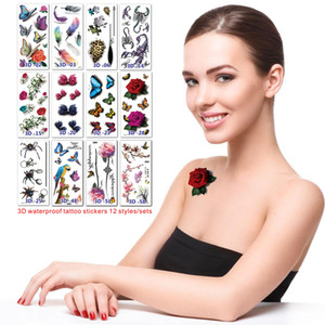 Summer new style 3D waterproof tattoo stickers Women's accessories Butterfly Flowers 30 style tattoos Creative model Better durability.