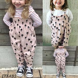 La niña de los niños 2pcs manera de las tapas camiseta floja Pink Bib Pantalones de vestuario