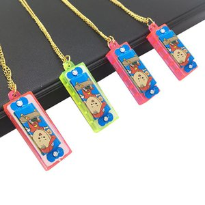 Wholesale 4 Holes 8 Tones Mini Harmonica Necklace Multicolor Wear Neckchain Kids Musical Instrument Educational Toys