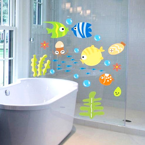 Bulles de poisson Stickers muraux Kid bébé Salle de bain Wall Sticker Nursery Cartoon océan animal étanche PVC Décoration