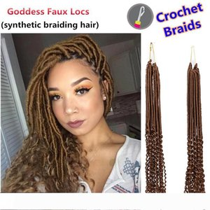 Janet collection 20inch Faux Locs Curly Crochet Hair Extensions Crochet Goddess Locs Synthetic Braiding Hair 24 strands pack for black women
