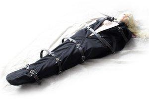 BDSM Leather Full Body Bondage Bag Arm Binder Straitjacket Sexs Mermaid Mummy Sleeping Sack Slave Body Restraints Adult Sex Toys For Wo Hllw