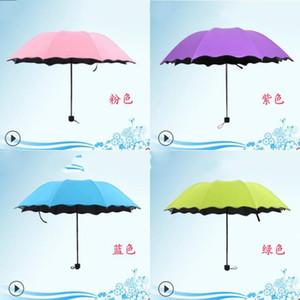 O Lado De Folha De Lótus Todo o Tempo Umbrella Blossom Em Água Super Forte Ultravioleta À Prova D 'Água Tri Guarda-chuvas Dobrado Sombrinha Portátil 9 2 h Ww