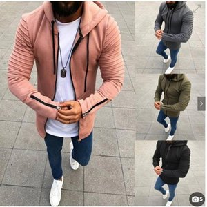2018 new men's sweater Europe and the United States explosion models 4 color 8 yards pleated long-sleeved hooded men's sweater
