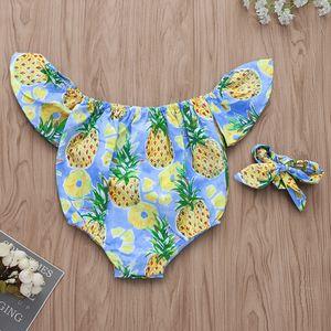 Yaz Yenidoğan Bebek Kız bebekler Giyim tulum Ruffles Ananas Baskılı Bebek Tulumu
